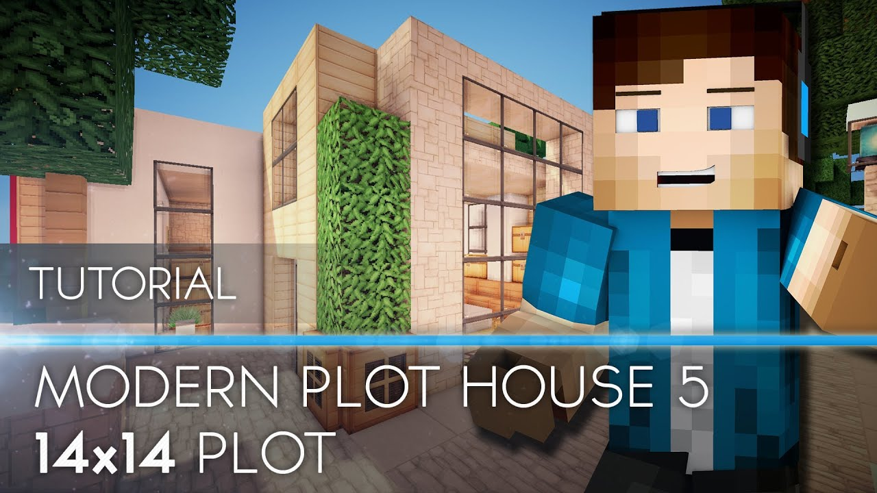 Tutorial minecraft modern house 14x14 plot hd youtube for Modern house tutorial