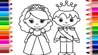 Learn how to draw and color little bride and groom fun for kids