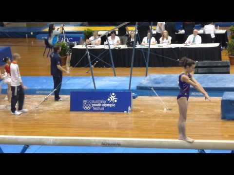 Courtney McGregor (NZ) BB AA + Tyesha Mattis (GBR) VT AA - Australian Youth Olympic Festival 2013