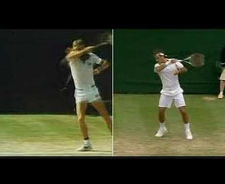 Borg to Federer forehand comparison
