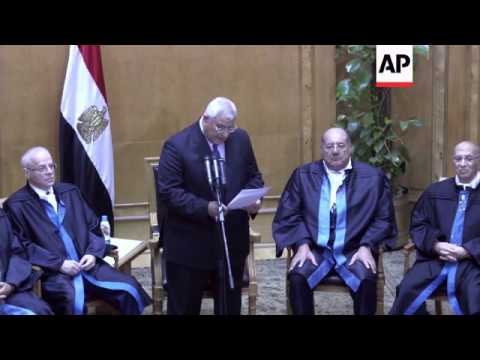 Interim leader Adly Mansour sworn in, jet fly-past over Tahrir Square in celebration