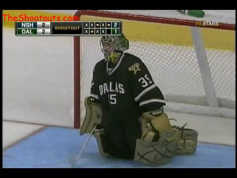 Michael Santorelli (NSH) vs. Marty Turco (DAL) Shootout October 3, 2009 Video