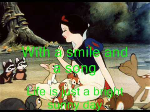 Snow White - With A Smile And A Song - Instrumental - With Lyrics - Karaoke Music Videos