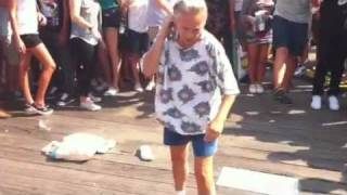 Grandma Tracy breakdancing at Mad Decent NYC block party