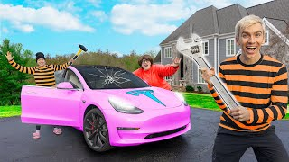 BREAKING into MYSTERY NEIGHBOR NEW TESLA!! (Stolen Evidence Found)