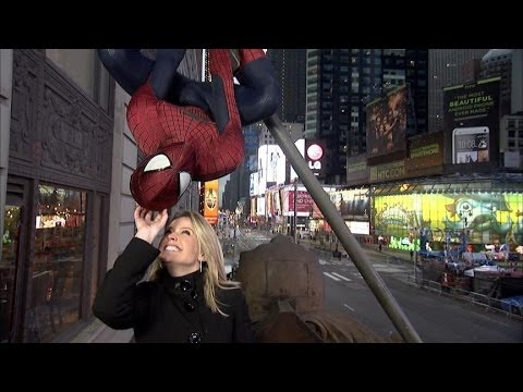 Spiderman Prepares to Celebrate New Year's in Times Square