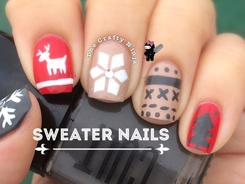 Winter Sweater Nail Art Tutorial by The Crafty Ninja - YouTube