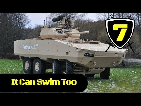 Patria - AMV28A Armoured Wheeled Vehicle goes Swimming