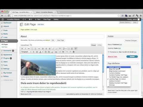 Using Wordpress Templates