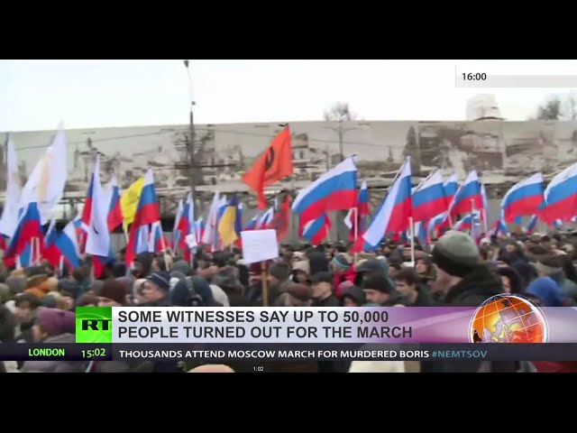Paying Respect: Mourners march in Moscow for Boris Nemtsov