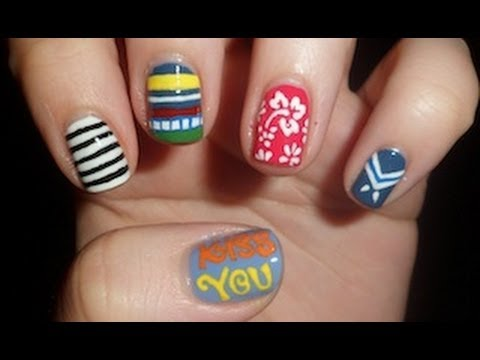One Direction 'Kiss You' Inspired Nail Art