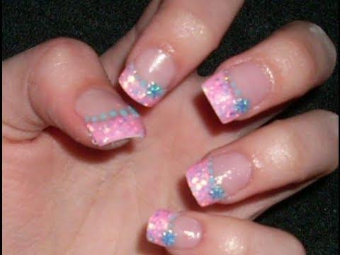 Pink Acrylic White Tip Nails Acrylic Nail Tutorial Pink