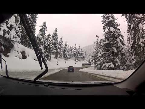 Driving during snowfall through fog (Kalavryta Ski Center, Greece) — onboard camera