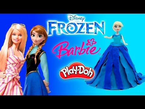 Плей До Принцессы Дисней Лепим платья из пластилина на русском Куклы Барби Анна Эльза