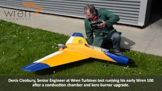 Denis Cleobury, Senior Engineer at Wren Turbines test running his early Wren 100