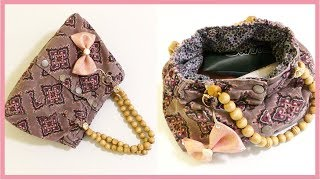 How to Make A Handbag Out of an Old Skirt at Home (with Cute Ribbon Bow Keychain)