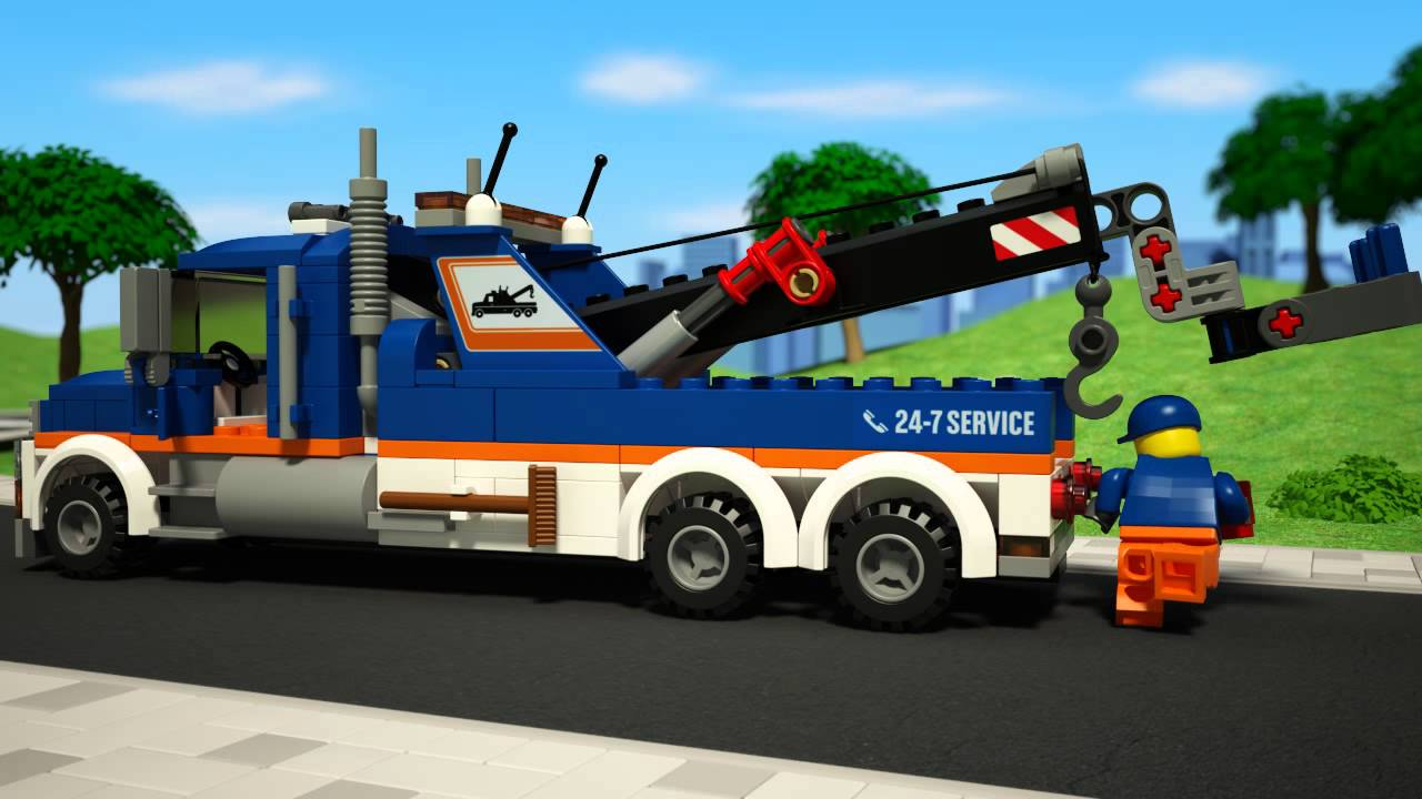Flatbed Tow Truck >> LEGO® City Tow Truck 60056 - YouTube