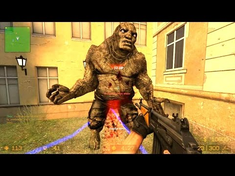 Counter Strike Source Zombie Horde mod Zombie Horror Boss fight Online Gameplay on 3rdstreet map