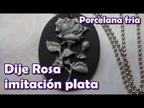 Dije rosa imitacion plata con molde / Porcelana fría (Cold porcelain)