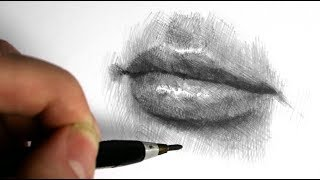 How to draw a mouth, shading and hatching - Narrated video, speeded up.