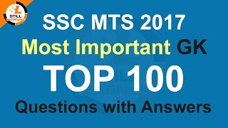 SSC MTS 2017 Most Important GK Top 100 Questions with Answers