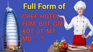 Hotel term short form full details | Hotel terms short form ka full form | Full form hotel/chef