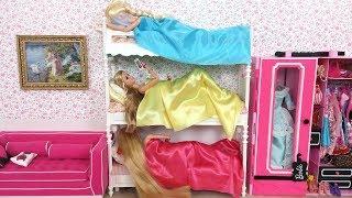 Barbie Elsa Rapunzel Bunk Bed Bedroom Morning Routine باربي الروتين الصباحي Barbie Rotina da manhã