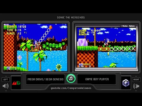 Sonic the Hedgehog (Genesis vs GBA) Side by Side Comparison (Game Boy Player)
