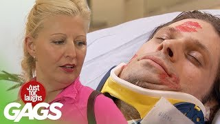 Women Caught Kissing Paralyzed Patient! - Just For Laughs Gags