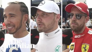 Lewis Hamilton, Valtteri Bottas and Sebastian Vettel react after French Grand Prix
