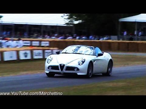 Alfa Romeo 8C Spyder vs 8C Coupè – Revving and Accelerating