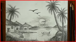 How to Draw scenery/For Drawing Competitions/Pencil/Village Landscape/S.Nagender