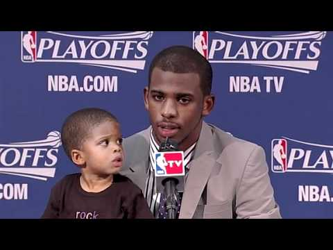 Chris Pauls Baby / Son Disturbs Him During Press Conference