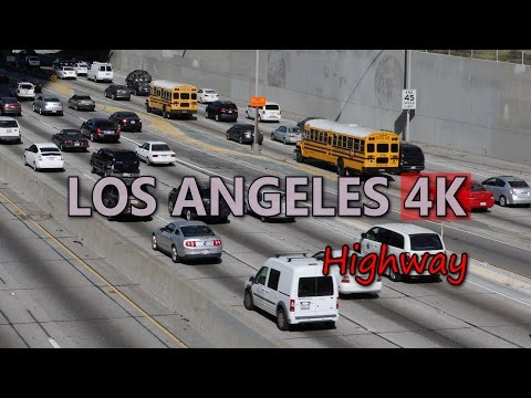 Ultra HD 4K Los Angeles Travel Busy Highway USA Tourism Vehicles on Freeway UHD Video Stock Footage