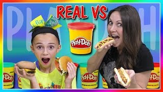 REAL FOOD VS PLAY DOH FOOD CHALLENGE | DIY | We Are The Davises