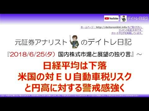 18/6/25夕 日本株下落 対EU自動車関税リスクと円高で
