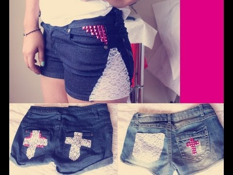 Htm tres formas de decorar shorts con encaje youtube - Decorar pantalones vaqueros ...