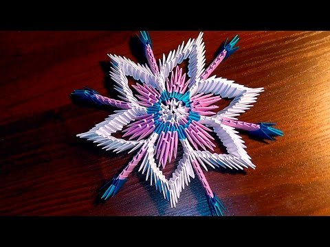 Модульное оригами снежинка