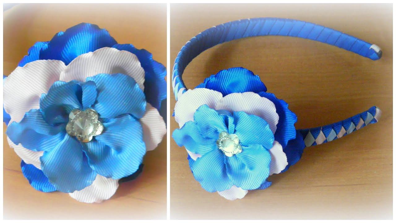 Цветы из лент на ободок своими руками мастер класс канзаши 37