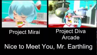 Project Mirai Deluxe Nice To Meet You Mr. Earthling PV Comparison 3DS Arcade