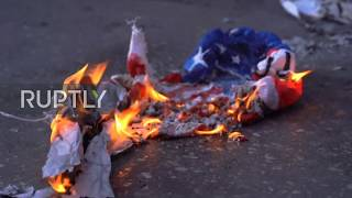 Greece: Protesters burn US flag outside consulate during rally for George Floyd
