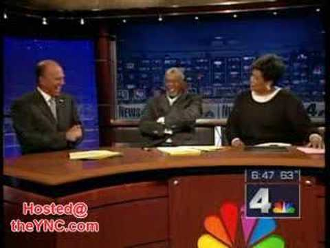 Falling Model cracks up News Anchor