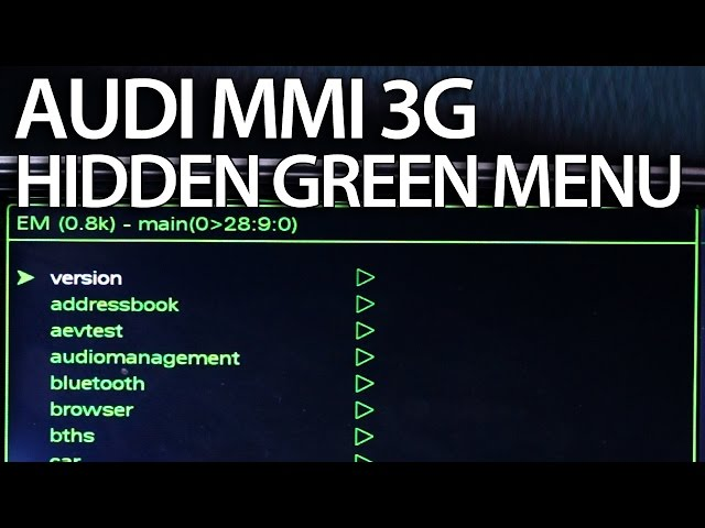 How to enter hidden green menu Audi MMI 3G (A1 ... - YouTube