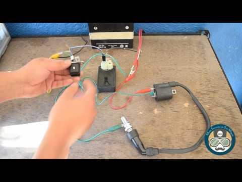 Probador de chispa de bujia utilizando CDI de 6 puntas -  Motocicletas