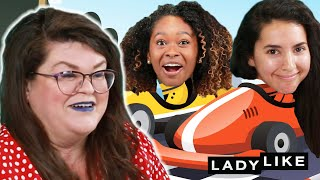 We Tried To Play Mario Kart While Doing Our Makeup • Ladylike