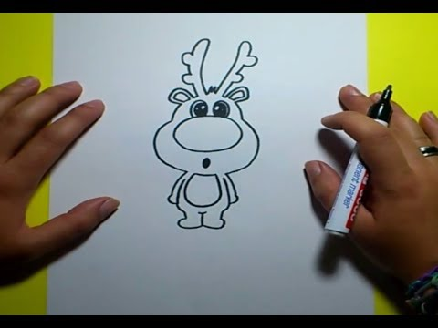 Como dibujar un reno paso a paso 2 How to draw a reindeer 2