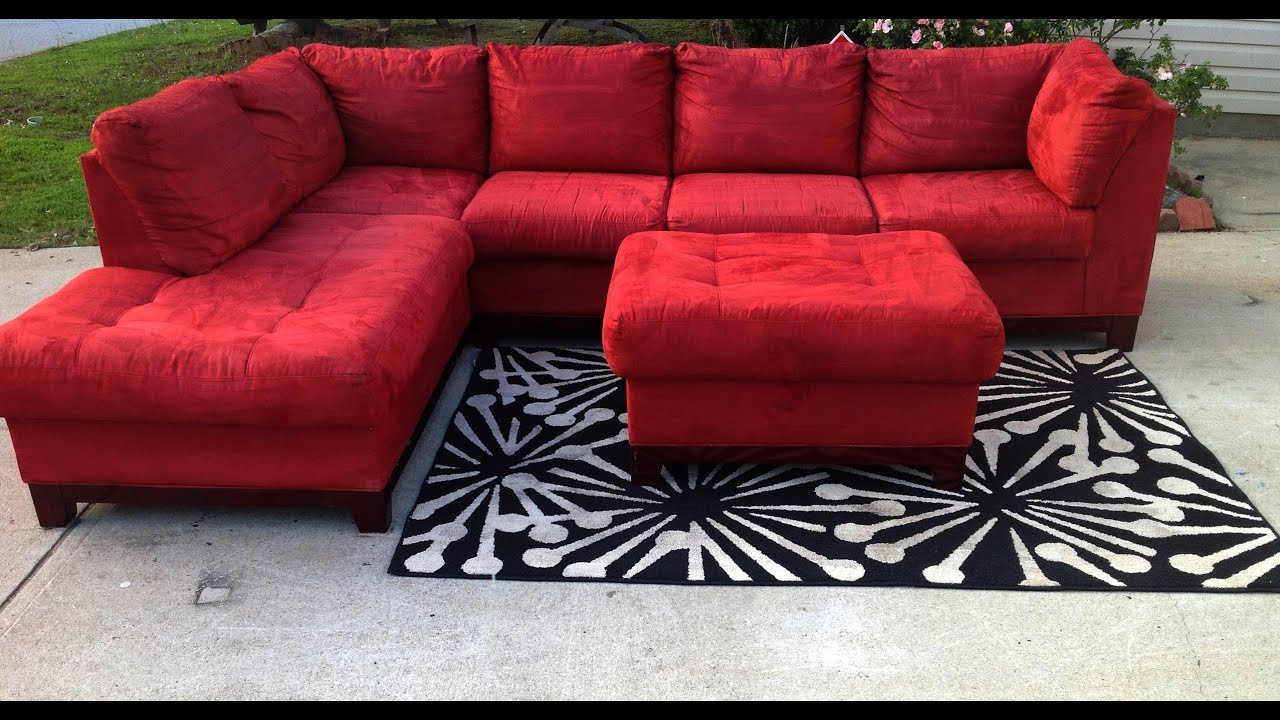 red CINDY CRAWFORD STLYE sectional 475 - YouTube