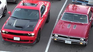 Old vs New Muscle Cars Drag Racing,Dodge Demon,Hellcat,Charger 69' and more