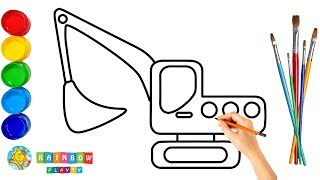 Excavator Drawing and Coloring Page for Kids  How to Draw Truck for Children