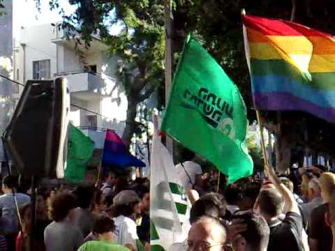 Next to the Gay Center the day after. Tzipi Livni talking.
